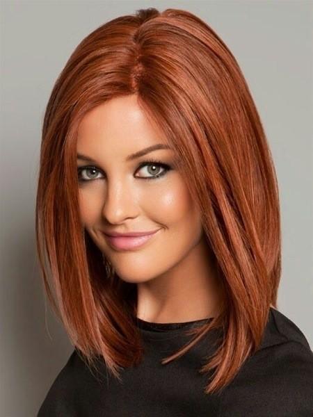 Lang Bob Haarschnitt mit Rote Haare
