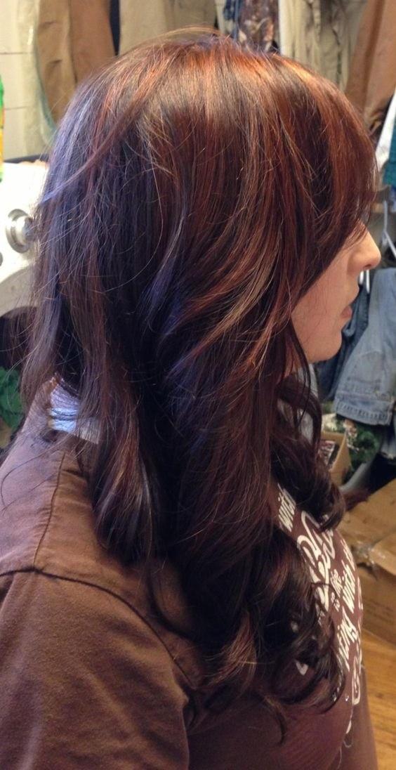 7-Dunkelbraune Haare mit roten strähnen