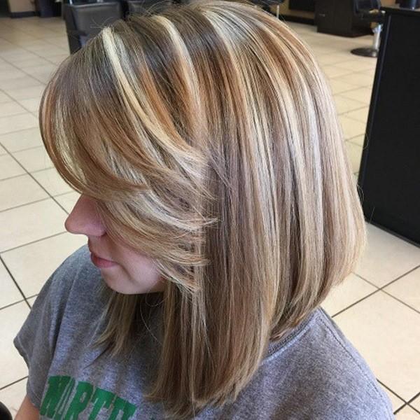 Lob Braune Haarschnitt mit blonde straehnen