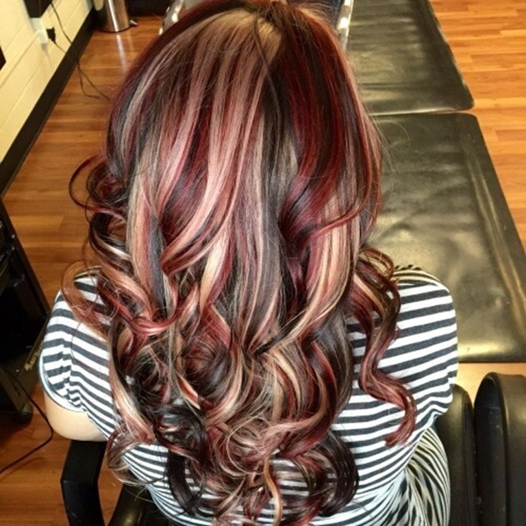 Hair color highlights red
