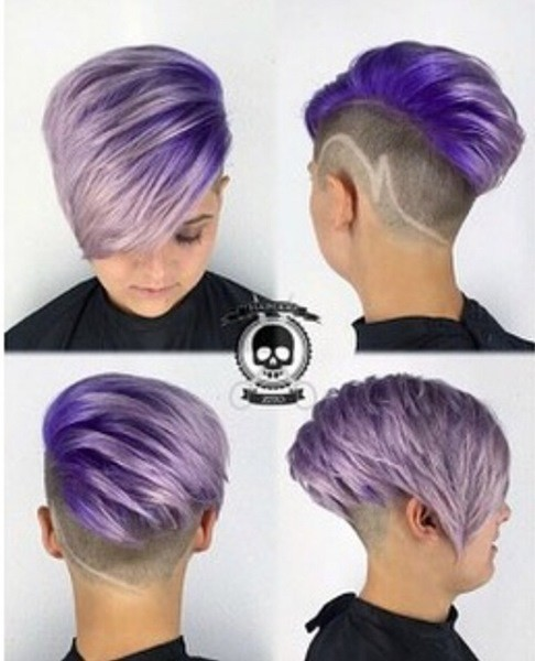 Kurz Undercut Frisur für Lila Haare