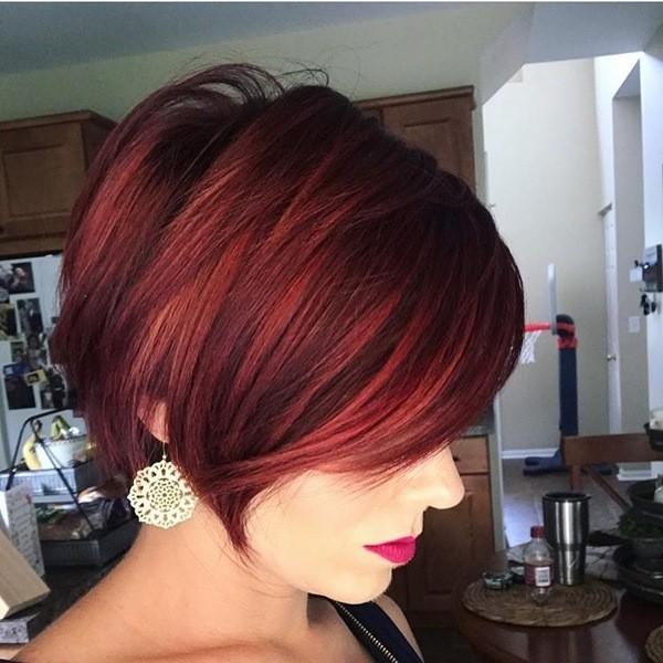 Rot Lang Pixie Haarschnitt