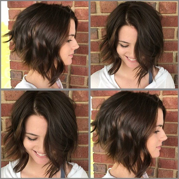 Braun Schullterlang Haarschnitt