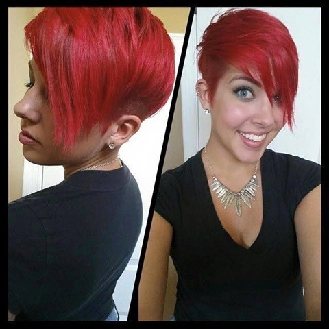 Rote Pixie Frisuren mit Pony