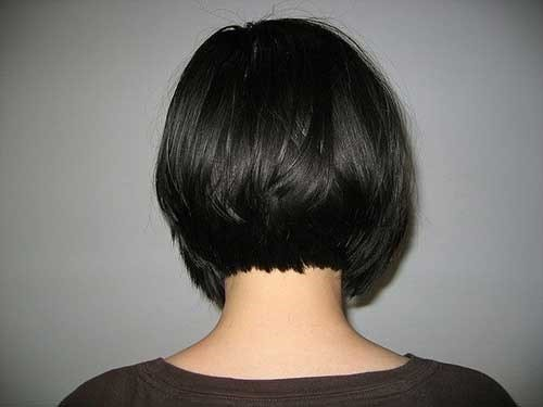 7. Gerade Dunkle Kurze Bob Haarschnitt Hinterkopf