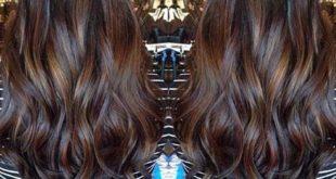 1-Dunkelbraune Haare mit Schokoladen-braunem Balayage