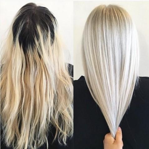 1 mittellang haarschnitt haar farbe ideen platinum blonde